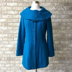 Tulle Blue Wool Blend Pea Coat Size Small